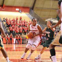 Jan 31, 2009; Piscataway, NJ, USA; Rutgers guard Epiphanny Prince (10) drives to the net against South Florida guard Jazmine Sepulveda (4) during the final minute of South Florida's 59-56 victory over Rutgers in NCAA women's college basketball at the Louis Brown Athletic Center
