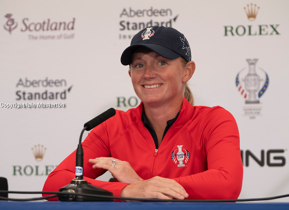 Auchterarder, Scotland, UK. 10 September 2019. Press conference by team at Gleneagles. Pictured Stacy Lewis of USA who has withdrawn through injury. Iain Masterton/Alamy Live News