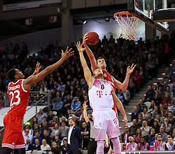 28.03.2016, Telekom Dome, Bonn, GER, Beko Basketball BL, Telekom Baskets Bonn vs FC Bayern Muenchen, 23. Runde, im Bild vl. Vitalis Chikoko (Muenchen, #23), Andrej Mangold (Bonn, #8), Paul Zipser (Muenchen, #16) // during the Beko Basketball Bundes league 23th round match between Telekom Baskets Bonn and FC Bayern Munich at the Telekom Dome in Bonn, Germany on 2016/03/28. EXPA Pictures © 2016, PhotoCredit: EXPA/ Eibner-Pressefoto/ Horn<br /> <br /> *****ATTENTION - OUT of GER*****