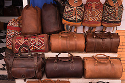 Leather bags for sale in the Medina in Marrakech, Morocco, North Africa<br /> <br /> <br /> (c) Andrew Wilson | Edinburgh Elite media