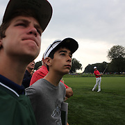 Youngsters watch a shot from Rory McIlroy during the first round of theThe Barclays Golf Tournament at The Ridgewood Country Club, Paramus, New Jersey, USA. 21st August 2014. Photo Tim Clayton