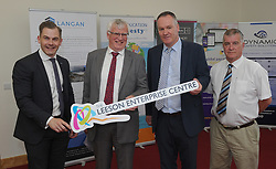 Pictured at the opening of the Leeson Enterprise Centre Westport, Brian Moran Bank of Ireland Westport, James O&rsquo;Doherty and Myles Staunton Multi Agency Committee and Cllr Christy Hyland Mayo County Council.<br /> Pic Conor McKeown