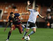 Santi Mina of Valencia Club de F&uacute;tbol and Adriano of FC Barcelona during the Copa Del Rey match at Mestalla, Valencia<br /> Picture by Maria Jose Segovia/Focus Images Ltd +34 660052291<br /> 10/02/2016