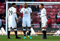 Jose Holebas and Etienne Capoue of Watford argue on the full time whistle, and have to be separated by teammate Younes Kaboul, despite their sides 1-0 win over Middlesbrough - Mandatory by-line: Robbie Stephenson/JMP - 16/10/2016 - FOOTBALL - Riverside Stadium - Middlesbrough, England - Middlesbrough v Watford - Premier League