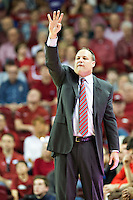 FAYETTEVILLE, AR - MARCH 4:  Head Coach Mark Fox of the Georgia Bulldogs yells to his team during a game against the Arkansas Razorbacks at Bud Walton Arena on March, 2017 in Fayetteville, Arkansas.  The Razorbacks defeated the Bulldogs 85-67.  (Photo by Wesley Hitt/Getty Images) *** Local Caption *** Mark Fox