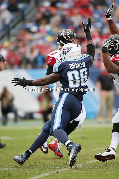 Tennessee Titans linebacker Brian Orakpo (98) pressures Atlanta Falcons quarterback Matt Ryan (2) into throwing an incomplete pass in the first quarter during the 2015 week 7 regular season NFL football game against the Atlanta Falcons on Sunday, Oct. 25, 2015 in Nashville, Tenn. The Falcons won the game 10-7. (©Paul Anthony Spinelli)