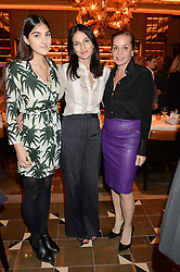 Left to right, LAUREN MILLS, YASMIN MILLS and CAROLE SILLER at the Cash & Rocket Tour Announcement Launch Lunch in association with McArthur Glen was held at The Grill, The Dorchester, Park Lane, London on 12th March 2015.