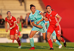 NEWPORT, WALES - Tuesday, June 12, 2018: Kayleigh Green (right) and Russia's captain Anna Kozhnikova (left) during the FIFA Women's World Cup 2019 Qualifying Round Group 1 match between Wales and Russia at Newport Stadium. (Pic by David Rawcliffe/Propaganda)