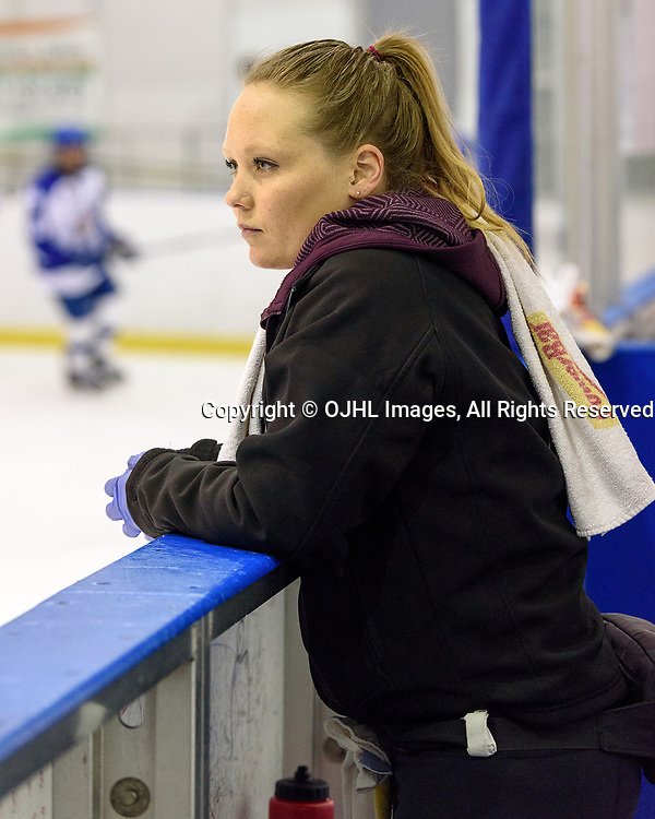 KINGSTON, ON  - NOV 30,  2017: Ontario Junior Hockey League game between the Kingston Voyageurs and the Markham Royals, Britt Boot Athletic Therapist for the Markham Royals during the pre-game warmup.<br /> (Photo by Ian Dixon / OJHL Images)