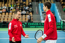 Radoslaw Szymanik and  Hubert Hurkacz of Poland  during the Day 1 of Davis Cup 2018 Europe/Africa zone Group II between Slovenia and Poland, on February 3, 2018 in Arena Lukna, Maribor, Slovenia. Photo by Vid Ponikvar / Sportida