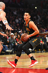 January 28, 2019 - Los Angeles, CA, U.S. - LOS ANGELES, CA - JANUARY 28: Atlanta Hawks Guard Jeremy Lin (7) drives to the basket during a NBA game between the Atlanta Hawks and the Los Angeles Clippers on January 28, 2019 at STAPLES Center in Los Angeles, CA. (Photo by Brian Rothmuller/Icon Sportswire) (Credit Image: © Brian Rothmuller/Icon SMI via ZUMA Press)