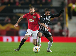 Juan Mata of Manchester United (L) and Seydouba Soumah of Partizan in action - Mandatory by-line: Jack Phillips/JMP - 07/11/2019 - FOOTBALL - Old Trafford - Manchester, England - Manchester United v Partizan - UEFA Europa League