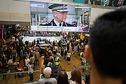New Met police commissioner Bernard Hogan-Howe and Londoners inside during the opening day of the Westfield Stratford shopping mall. Situated on the fringe of the 2012 Olympic park, Westfield hosted its first day to thousands of shoppers eager to see Europe's largest urban shopping centre. The £1.45bn complex houses more than 300 shops, 70 restaurants, a 14-screen cinema, three hotels, a bowling alley and the UK's largest casino. It will provide the main access to the Olympic park for the 2012 Games and a central 'street' will give 75% of Olympic visitors access to the main stadium so retail space and so far 95% of the centre has been let. It is claimed that up to 8,500 permanent jobs will be created by the retail sector.