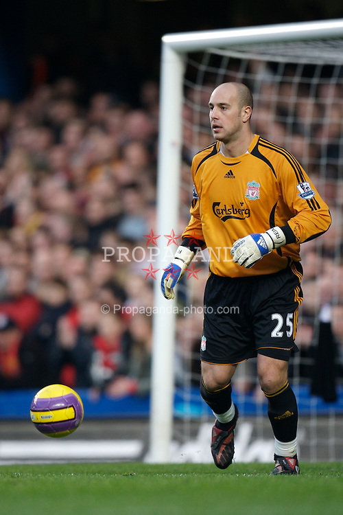 LONDON, ENGLAND - Sunday, February 10, 2008: Liverpool's goalkeeper Jose Pepe Reina in action against Chelsea during the Premiership match at Stamford Bridge. (Photo by David Rawcliffe/Propaganda)