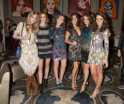 Left to right, GEORGIE MACINTYRE, LADY ALICE MANNERS, LADY ELIZA MANERS, ROSE THOMAS, LADY VIOLET MANNERS and ROSANNA FALCONER at the Tatler Little Black Book Party at Home House Member's Club, Portman Square, London supported by CARAT on 11th November 2015.