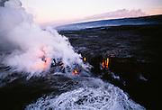 Lava into Ocean, Kilauea Volcano, Island of Hawaii