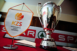Trophy during press conference of KZS before final basketball tournament of Spar Cup 2012, on February 14, 2012, in Austria Trend Hotel, Ljubljana, Slovenia. (Photo by Grega Valancic / Sportida.com)