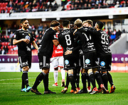 KALMAR, SWEDEN - APRIL 18: Players of Ostersunds FK celebrating after Brwa Nouri of Ostersunds FK scores to 0-1 during the Allsvenskan match between Kalmar FF and Ostersunds FK at Guldfageln Arena on April 18, 2018 in Kalmar, Sweden. Photo by Jonas Gustafsson/Ombrello ***BETALBILD***