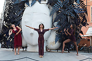 In Pietrasanta the sculptures produced on site and destined for other places in the world have the obligation to stay on the square for some weeks, during the dance festival some members of an American ballet improvise a performance in relation to a sculpture