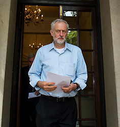 © Licensed to London News Pictures. 22/07/2015. London, UK. Labour leadership candidate JEREMY CORBYN MP leaving the Royal College of Nursing in London after delivering a speech on the economy. Photo credit: Ben Cawthra/LNP
