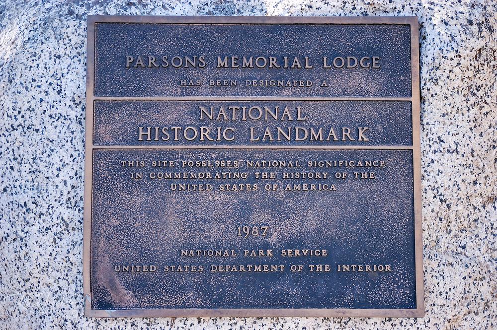 The National Historic Landmark plaque at Parsons Memorial Lodge, Tuolumne Meadows area, Yosemite National Park, California