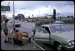 Packing Rocks and unused Ham Radio Gear for Parcel Post back home in Flagstaff AZ. Nikon Ftn Camera, 60th f/5.6 1/3 35mm f/2 lens, Kodachrome II