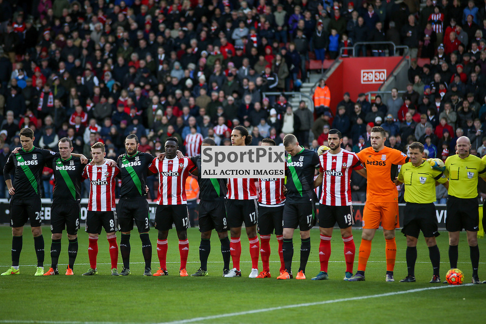 the teams during the french national anthem During Southampton vs Stoke City on Saturday the 21st November 2015.