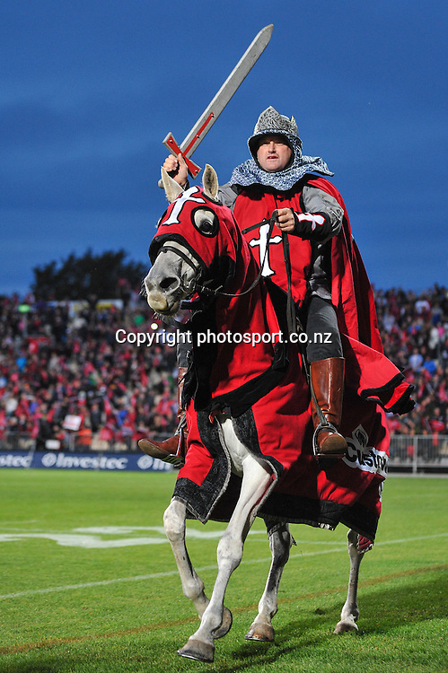 A Crusader horse in the Super Rugby game, Crusaders v Hurricanes, 28 March 2014. Photo:John Davidson/photosport.co.nz