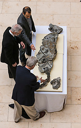 The fossilised skeleton of a Jurassic sea creature from the Ichthyosaurs family found on Skye in 1966 has been unveiled at the National Museum of Scotland by scientists for the first time. Named the Storr Lochs Monster, it is the most complete skeleton of a sea-living reptile from the dinosaur age ever to be found in Scotland and has been extracted from the rock that encased it for millions of years.<br /> <br /> A partnership between the University of Edinburgh, National Museums of Scotland and every company SSE has enabled the fossil to be extracted from the rock that encased it for millions of years.<br /> <br /> Pictured: Dr Steven Brusatte (University of Edinburgh), Allan Gillies (son of Norris Gillies who found the fossil in 1966), Dr Nick Fraser (National Museums of Scotland)