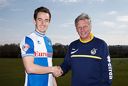 Bristol Rovers Manager John Ward shakes hands with Tom Lockyer as the player signs a new contract with the club - Photo mandatory by-line: Rogan Thomson/JMP - 07966 386802 - 17/03/2014 - SPORT - FOOTBALL - Friends Life Sports Ground, Bristol - Bristol Rovers Player Signing at the training ground.