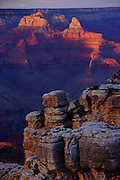 A view of the Grand Canyon from the South Rim, near the El Tovar Hotel.