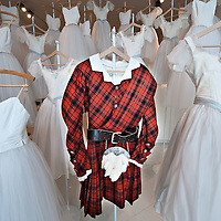 """MILAN, ITALY - JULY 13:  A tartan costume by Eugene Lami used in the """"Silphyde"""" ballet season 2005/6 and several tutus by Nicola Benois used in """"Giselle"""" ballet season 1950/1 on display at Palazzo Morando on July 13, 2010 in Milan, Italy. The exhibition """"Il Costume veste la Musica"""" open until September 12th features more than 50 costumes and accessories chosen among the most significant pieces made for opera and ballet by the atelier of La Scala"""