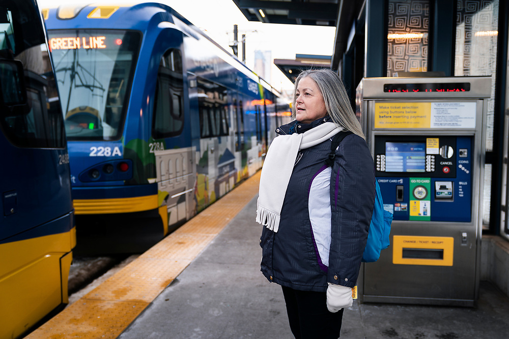 Pam Ciresi rides the METRO Green Line train after leaving Gillette Children's Speciality Healthcare in Saint Paul, Minnesota, Friday, Dec. 6, 2019.