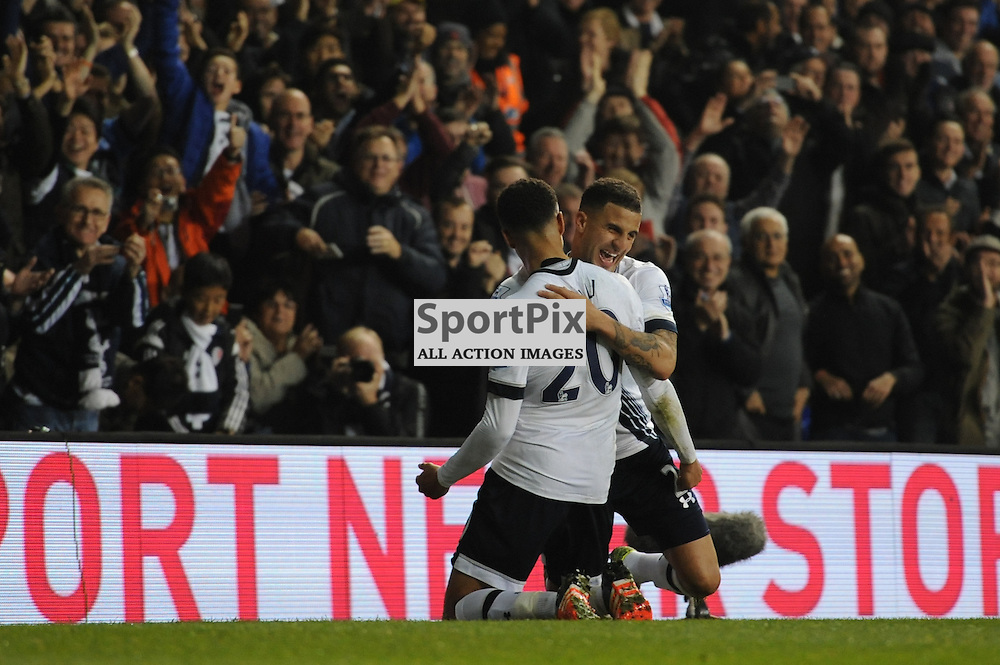 Tottenhams Dele Alli celebrates scoring Tottenhams second goal with Kyle Walker during the Tottenham v Aston Villa match in the Barclays Premier League on the 2nd November 2015