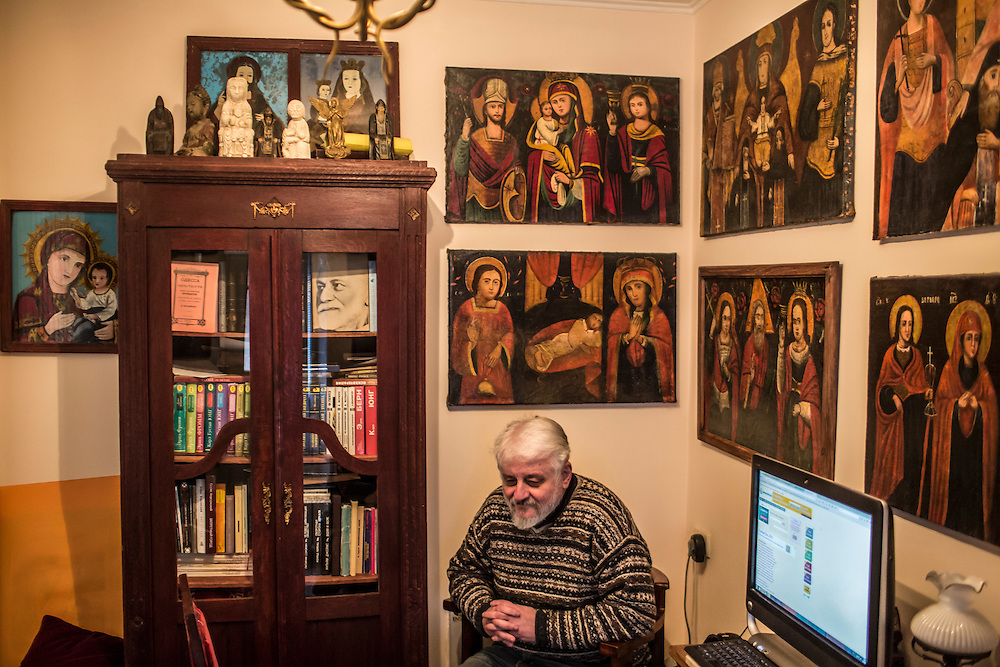 ODESSA, UKRAINE - MARCH 26, 2015: Poet Boris Khersonsky in his home office in Odessa, Ukraine. CREDIT: Brendan Hoffman for The New York Times