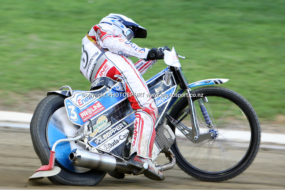 Jaroslaw Hampel (Poland) in action during the 2012 FIM New Zealand Speedway Grand Prix, Western Springs, Auckland, New Zealand. Saturday 31st March 2012. Photo: Wayne Drought / photosport.co.nz