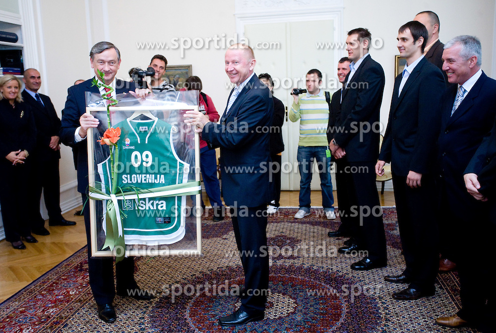 Danilo Turk and Dusan Sesok of Slovenian basketball national team after Eurobasket 2009 at reception at president of Slovenia dr. Danilo Türk,  on September 28, 2009, in Presernova 8, Ljubljana, Slovenia.  (Photo by Vid Ponikvar / Sportida)