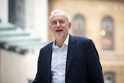 © Licensed to London News Pictures. 15/04/2018. London, UK. Leader of the Labour Party Jeremy Corbyn arriving at BBC Broadcasting House to appear on The Andrew Marr Show this morning. In the early hours of yesterday (Saturday) morning, British Prime Minister Theresa May ordered UK forces to join the US and France in targeted air strikes on a military base near Homs, Syria, believed to be a chemical weapons facility. Corbyn disagrees with the lack of parliamentary discussion preceding the decision. Photo credit : Tom Nicholson/LNP