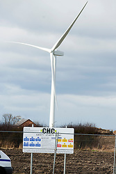 Ulley Wind Farm one of the fully erected Wind Turbines ..13  March  2013.Image © Paul David Drabble