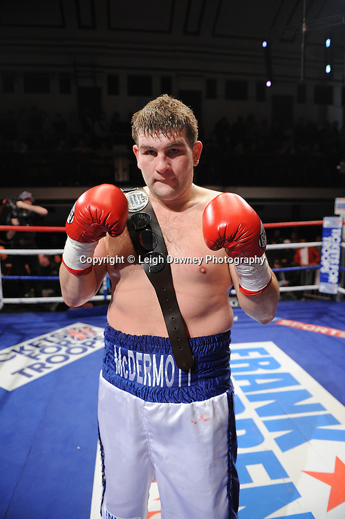 BBBofC Southern Area Heavyweight Title. John McDermott (pictured with Southern Area Title belt) after defeating Larry Olubamiwo at York Hall, Bethnal Green, London on the 19th February 2011. Frank Warren Promotions. Photo credit © Leigh Dawney.