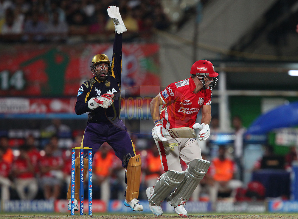 Robin Uthappa of the Kolkata Knight Riders appeals for the wicket of David Miller of the Kings X1 Punjab during the first qualifier match (QF1) of the Pepsi Indian Premier League Season 2014 between the Kings XI Punjab and the Kolkata Knight Riders held at the Eden Gardens Cricket Stadium, Kolkata, India on the 28th May  2014<br /> <br /> Photo by Ron Gaunt / IPL / SPORTZPICS<br /> <br /> <br /> <br /> Image use subject to terms and conditions which can be found here:  http://sportzpics.photoshelter.com/gallery/Pepsi-IPL-Image-terms-and-conditions/G00004VW1IVJ.gB0/C0000TScjhBM6ikg