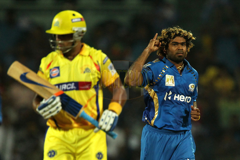 Lasith Malinga celebrates the wicket of Murali Vijay during match 3 of the NOKIA Champions League T20 ( CLT20 )between the Chennai Superkings and the Mumbai Indians held at the M. A. Chidambaram Stadium in Chennai , Tamil Nadu, India on the 24th September 2011..Photo by Ron Gaunt/BCCI/SPORTZPICS