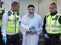 © Licensed to London News Pictures. 19/10/2018. London, UK. Radical preacher ANJEM CHOUDARY is seen at a bail hostel after being released form Belmarsh Prison in south-east London. Photo credit: Peter Macdiarmid/LNP