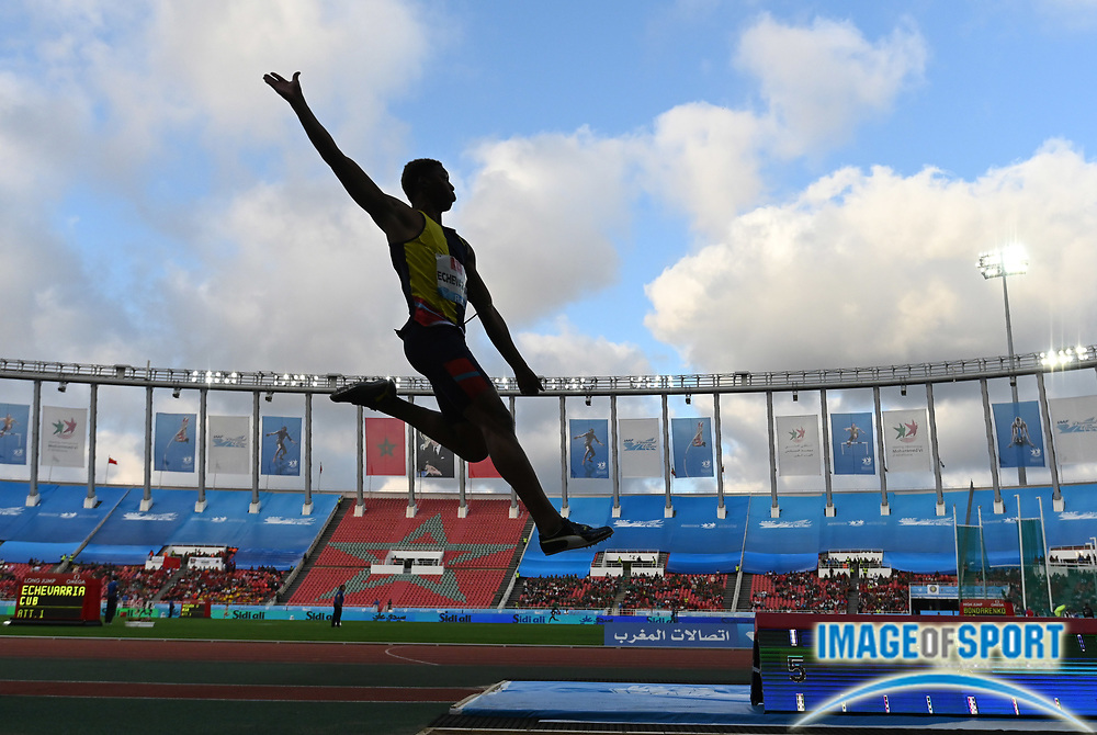 Jun 16, 2019; Rabat, Morocco; Juan Miguel Echevarria (CUB) wins the long jump at 27-4 3/4 (8.34m) during the Meeting International Mohammed VI d'Athletisme de Rabat at Prince Moulay Abdellah Stadium.
