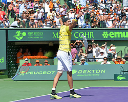 April 1, 2018 - Miami, FL, United States - KEY BISCAYNE, FL - APRIL 1: John Isner (USA) celebrates after defeating Alexander Zverev (GER) 67(4) 64 64 2018 Miami Open held at the Tennis Center at Crandon Park on April 1, 2018.   Credit: Andrew Patron/Zuma Wire (Credit Image: © Andrew Patron via ZUMA Wire)