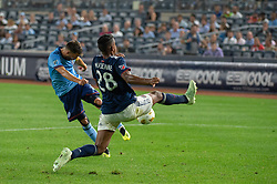 September 5, 2018 - Bronx, New York, United States - New York City forward DAVID VILLA #7 shoots the ball against New England Revolution defender MICHAEL MANCIENNE #28 during a regular season match at Yankee Stadium in Bronx, NY.  New England Revolution defeats New York City FC 1 to 0 (Credit Image: © Mark Smith/ZUMA Wire)