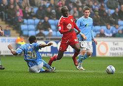 Bristol City's Albert Adomah is fouled by Coventry's Nathan Cameron and awarded a penalty - Photo mandatory by-line: Joe Meredith/JMP - 05/03/2011 - SPORT - FOOTBALL - Championship - Coventry City v Bristol City  - Ricoh Arena, Coventry, England