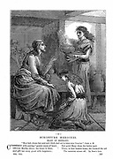 Jesus with Mary and Martha. 'Bible': Luke X. 42. Wood engraving c1870