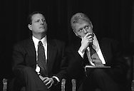 President Bill Clinton (right) and Vice President Al Gore during an event at Presidential Hall in the Old Executive Office Building of the White House, Washington, DC, November 20, 1997.  (Photo by Roger M. Richards)