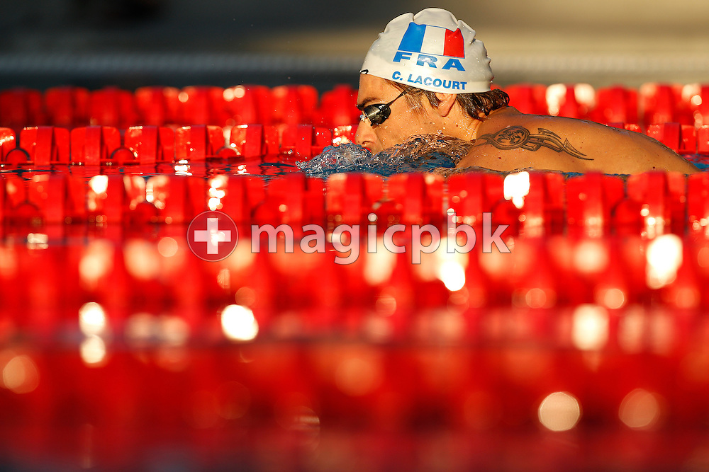 Camille LACOURT of France is cooling down after winning in a new European Record time the men's 100m Backstroke Final at the European Swimming Championship at the Hajos Alfred Swimming complex in Budapest, Hungary, Tuesday, Aug. 10, 2010. (Photo by Patrick B. Kraemer / MAGICPBK)